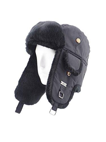 Quilted Hat Fur (FUR WINTER Taslon Faux Fur Aviator Bomber Trapper Hat BLK/BLK M/L)