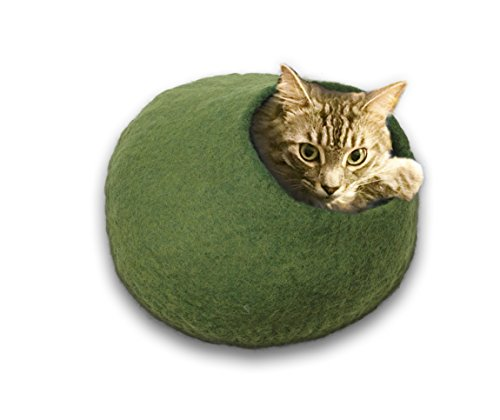 Walking Palm Felted Wool Cat Cave Bed (Green)