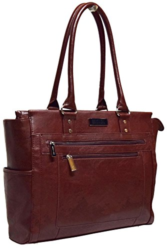 Kenneth Cole Reaction Tote and Tie Single Gusset Top Zip Computer Carry On Tote (Brown)