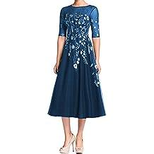 LMBRIDAL Women's Half Sleeves Floral Print Formal Dress Tea Length Gown WL03