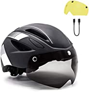Adult Bike Helmet with USB Rechargeable Rear Light & Detachable Magnetic Goggles/Sun Visor + Yellow Goggle