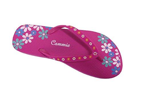Kvinnor Strand Flip Flop Rem Sandal Med Blommönster Remmar Rosa