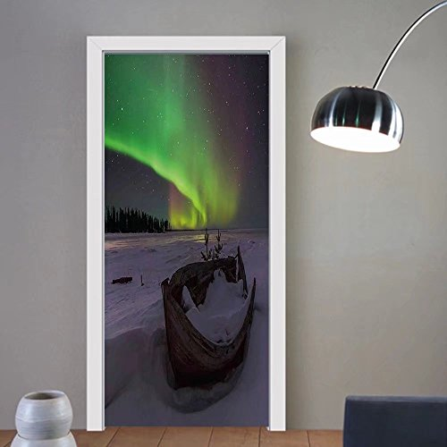 Gzhihine custom made 3d door stickers Northern Lights Winter Trees Aurora Borealis Dusk Sky Twilight Travel Theme Almond and Lime Green For Room Decor 30x79 by Gzhihine