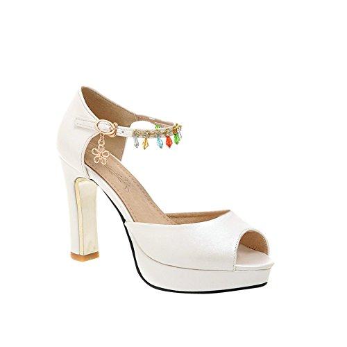 PU brevet blanc Bandage Peep Toe sandales Sexy pour femme