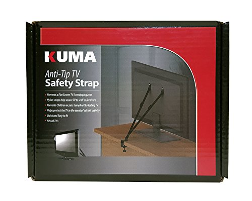 KUMA Mounts - Anti Tip Safety Straps for All Flatscreen TVs - LED LCD Plasma - Hardware Included (M6 Mount Screw Tv)