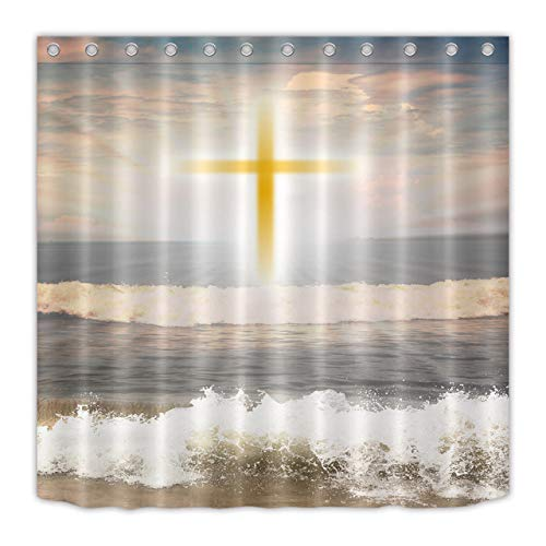 youyoutang Waterproof Fabric Shower Curtain Liner Jesus Christian Cross Ocean 12 Shower Hooks 70.8X70.8 Inch Home Decoration Bathroom Accessories