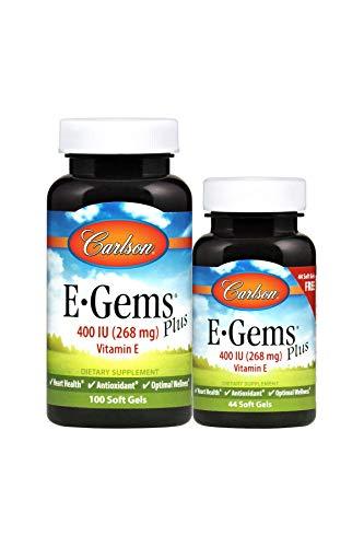 Carlson E-Gems Plus 400 IU, Vitamin E, Heart Health, 100 + 44 Soft Gels