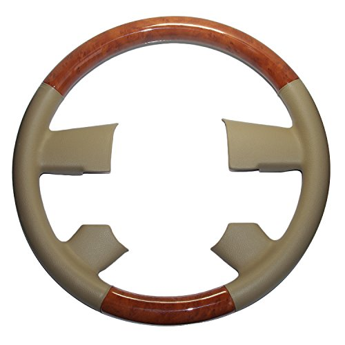 Pursuestar Tan Leather Light Brown Wood Steering Wheel Cover