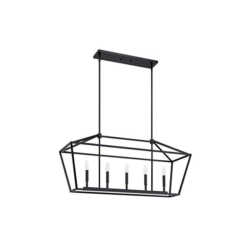"MOTINI 5-Light Kitchen Island Lantern Pendant Linear Chandelier Black Rod Hanging Light 40""x 12""x18.5"""