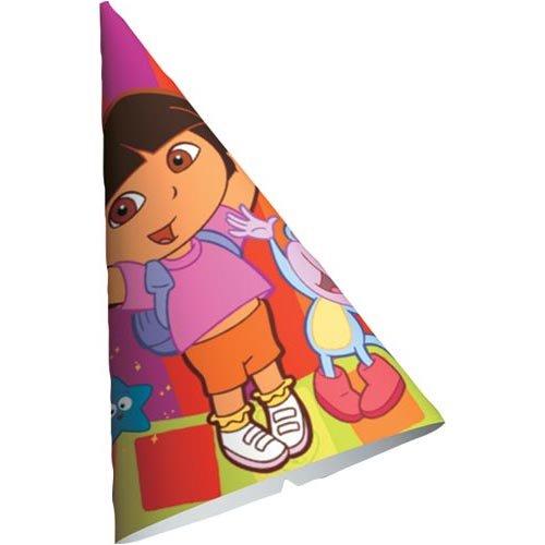 8ct American Greetings 249757 Dora the Explorer Cone Hats