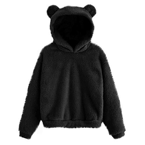 Dames Trui Hoodie LPAN Lange Mouw Fleece Sweatshirt Warm Schattige Beer Casual Eenvoudige Fleece Warme Zachte Fuzzy…