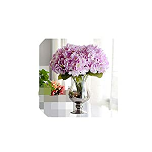 Artificial Flower Hydrangea 5 Heads Silk Hydrangea Bouquet for Wedding Party New Year Decoration Fake Flowers Home Decor,Light Purple 107
