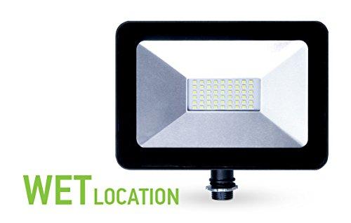 ASD 30W LED Floodlight with Arm Mount 5000K (Daylight) Slim SMD 3035lm Waterproof Outdoor Landscape Security, Black, ETL Listed DLC Certified