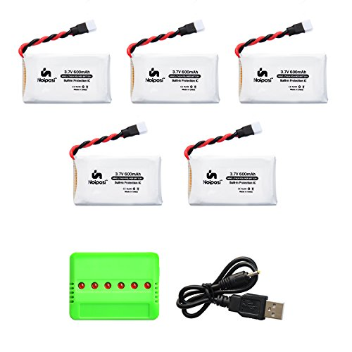 Noiposi 5 pcs 3.7v 600mah 20c lipo battery with X6 Charger for X708 X708W UFO 3000 Halo 3000 Haktoys HAK905 AKASO X5C Syma X5C X5SW X5SC UDI U45 JJRC H42 GoolRC T32 T5W Quadcopter by Noiposi