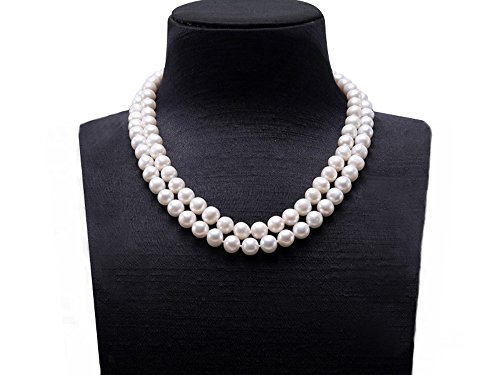 Double Strand Pearl Clasp (JYX Double-row 8-9mm Round Freshwater Cultured Pearl Necklace 18