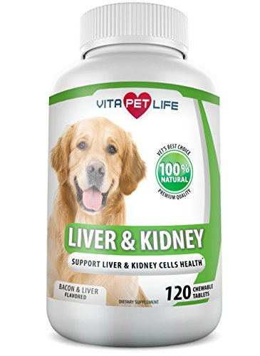 Treat Kidney Stones (Milk Thistle Liver and Kidney Support for Dogs, Detox, with DHA, EPA, Hepatic Support, Dandelion Root, Omega 3 Fish Oil, Vitamin B1,B2,B6,B12, Kidney Stone Prevention, Bladder Support (120 Chews))