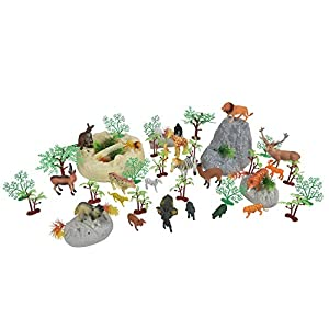 Sunny Days Entertainment Wild Animal Adventure Safari Bucket – 57 Piece Toy Play Set for Kids | Plastic Figures Playset…