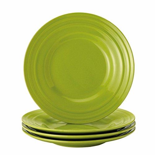 (Rachael Ray Dinnerware Double Ridge 4-Piece Stoneware Salad Plate Set, Green)