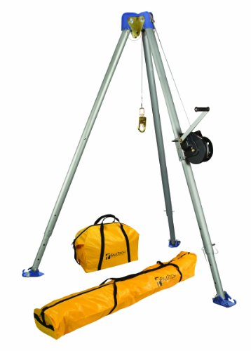 - FallTech 7505 Confined Space Tripod Kit - Tripod Kit with 7275 Tripod, 7290 Winch, 7280 and 7282 Storage Bags, Galvanized Cable, Natural