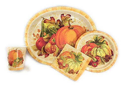 Oval Pumpkin - Thanksgiving Paper Plates, Napkins and Cups Heavy Duty Dinnerware Set,16 Oval plates, 16 Dessert Plates, 16 Napkins, and 16 Cups. Pumpkin Fall Harvest Party