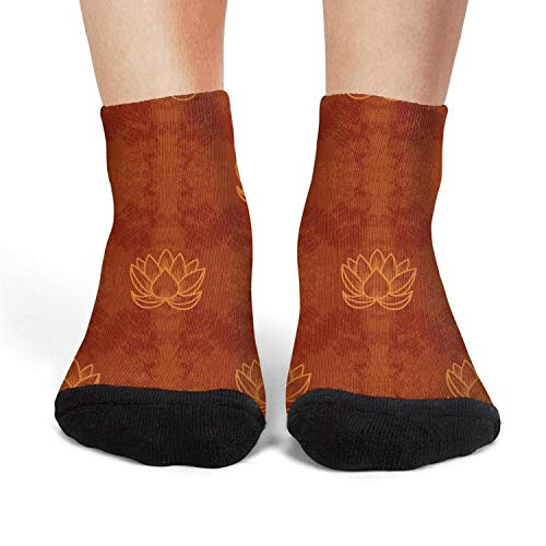 (Oriental Motif chinese Lotus red Women's Crew Sock Cotton Athletic Funny Low Cut Tube Sock Thin High Ankle Socks)