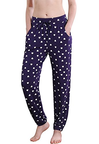 Vislivin Women's Stretch Knit Pajama Pants Modal Sleep Pant DB Love Thin M