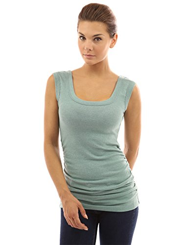 PattyBoutik Women Scoop Neck Ruched Tank Top (Light Green ()