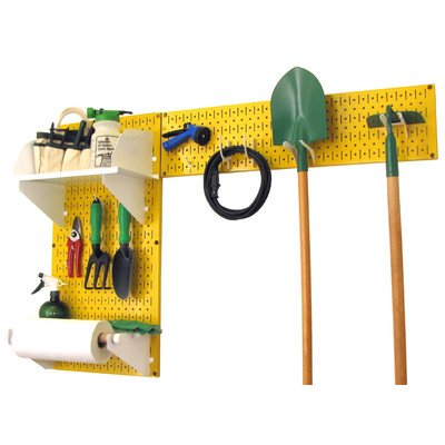Wall Control 30-GRD-200 YW Pegboard Garden Supplies Storage and Organization Garden Tool Organizer Kit with Yellow Pegboard and White Accessories