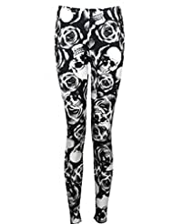 Womens Plus Skull Rose Print Stretch Leggings