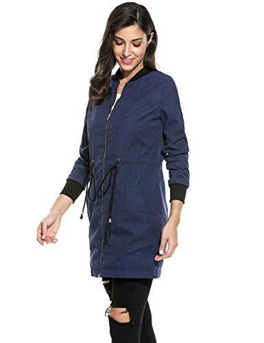 Meaneor Blouson Long Femme Veste Jacket Automne Cordon Parka Poche Coupe-vent Bleu Fonc