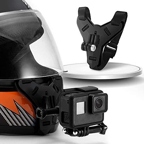 Motorcycle Helmet Chin Strap Mount with Non-Slip & Shockproof Design for GoPro Hero 9, 8, 7, (2018), 6 5 4 3, Hero Black