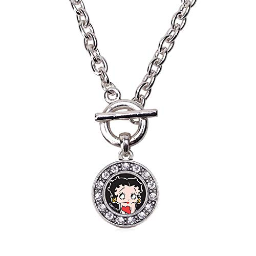 Inspired Silver - Betty Boop Toggle Charm Necklace for Women - Silver Circle Charm 18 Inch Necklace with Cubic Zirconia Jewelry (Betty Boop Pendant)