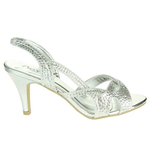 e2514638 Mujer Señoras Diamante Detalle Correa superpuesta Slingback Tacón medio  Noche Fiesta Boda Paseo Sandalias Zapatos Talla ...