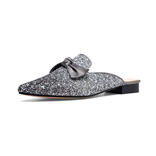 34 Slipper Toe Gorgeous 38 Sandals Comfortable 39 Color with Design Closed Gray Size Size Bling Pink Bowknot dIwYzAxd