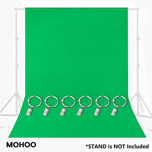 MOHOO Green Screen, Green Chromakey Muslin Backdrop with 6 Ring Metal Holding...
