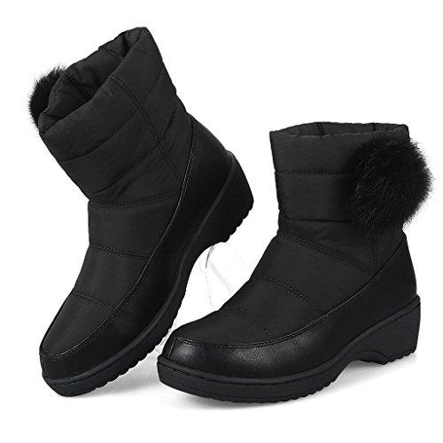 aux Femmes PP imperméable Antidérapant d'hiver Chaud Filles Bottes Mode de de Neige pour d'hiver Bottes Bottes Dames Black Neige et de wZq6xrZY