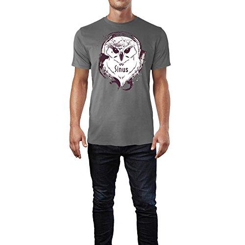 SINUS ART ® Splash Art Eule mit Kopfhörern Herren T-Shirts in Grau Charocoal Fun Shirt mit tollen Aufdruck