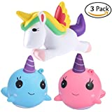 Squishy Unicorn Whale cartoon Cute Kawaii Soft Squishies Toy, Bird, Whale, Stress Relieve Squeeze Soft Lovely Toy Kids Gift Fidget Toy Slow Rising Miniature Novelty Toys Charms Decoration Set 3pcs