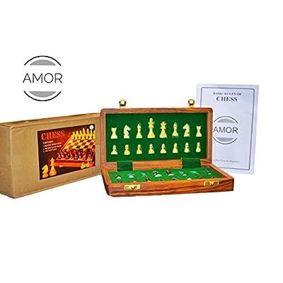 échiquier en bois fabriqué à la main Voyage pliant magnétique Jeu d'échecs de 25,4x 25,4cm par London _ vente au détail