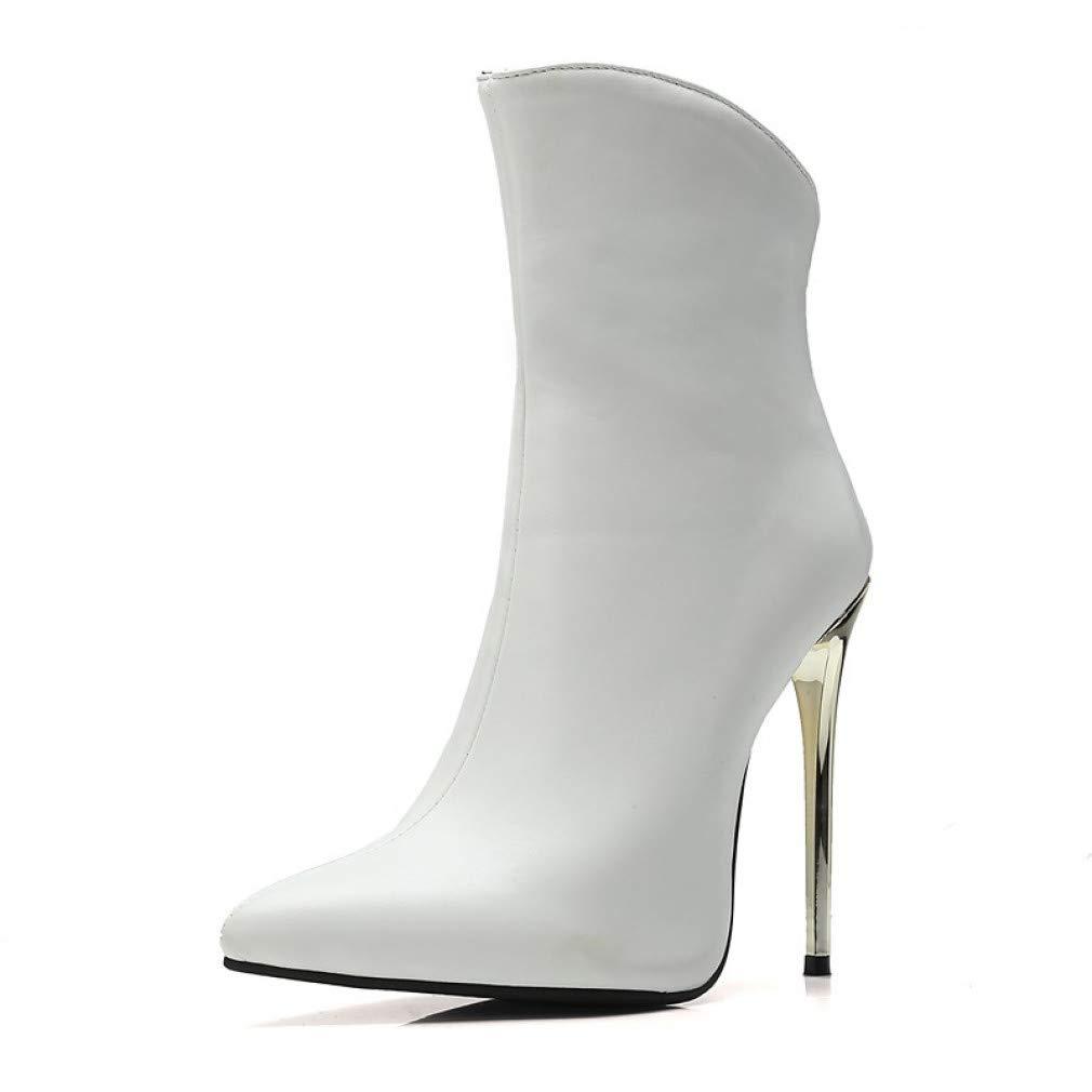 SchuheHAOGE Damenmode Stiefel Pu (Polyurethan) Herbst & Winter Klassische Stiefel Stiletto Heel Spitz Stiefel Weiß Schwarz   Hochzeit Party & Abend