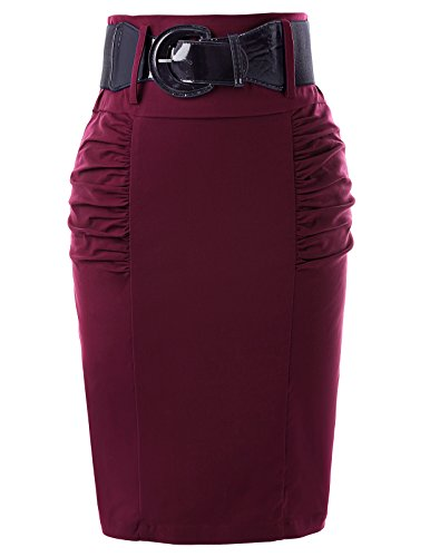 Belle Poque High Stretchy Vintage Skirts for Women Wine Red Size S KK271-7 by Belle Poque