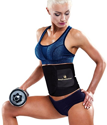 NeoProMedical Waist Trimmer Belt - Weight Loss Wrap - Stomach Fat Burner - Low Back and Lumbar Support with Sauna Suit Effect - Best Abdominal Trainer