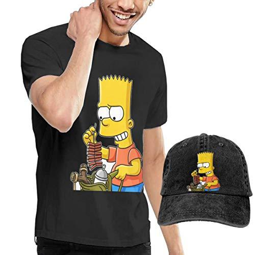 LiuYeWen Bart Simpson Fashion Men's Short Sleeved T-Shirt and Cowboy Hat Black S -