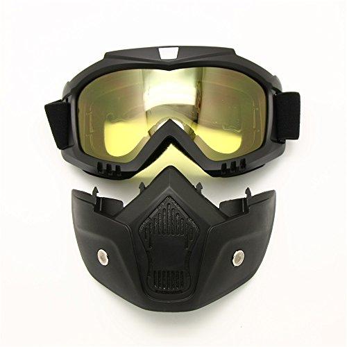 Motorcycle Goggles Mask Detachable, Harley Style Protect Padding Helmet Sunglasses, Road Riding UV Motorbike Glasses (Night Vision - Glasses Motorcycle Night