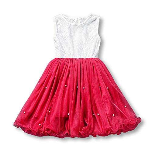 (longing-summer Gold Sequin Dress for 3 4 5 6 7 8 Years Baby Girls Tulle Dresses Kids Party Wear Children Summer Clothing Cute Lace Clothes 2018,Red1,3T)