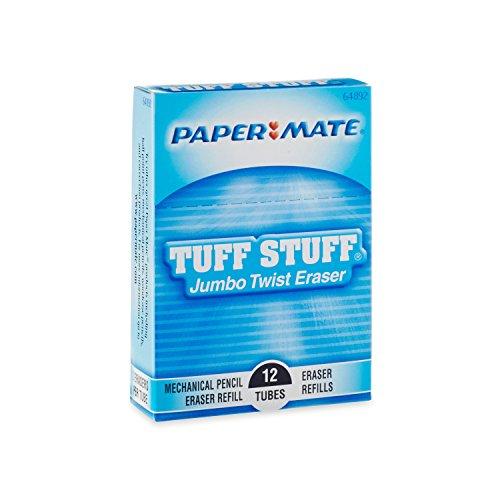 Paper Mate Mechanical Pencil Jumbo Twist Eraser Refills, 12 Tubes, 2 Erasers/Tube (64892)