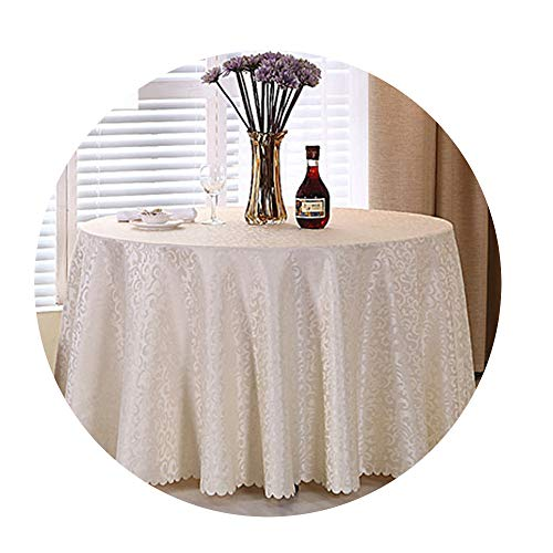 COOCOl Great 1Pc Multi Size White Polyester Hotel Dinner Table Cloth Round Washable Gold Crocheted Floral Tablecloth,Beige White,Square 120X160Cm ()