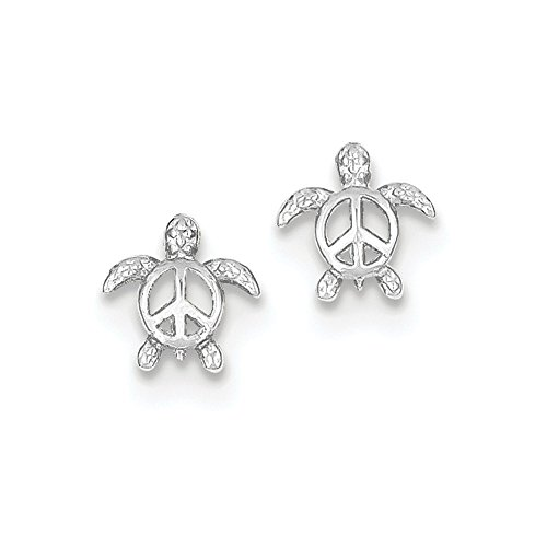 14k White Gold Peace Turtle Post Earrings 9x8 mm (White Gold Turtle)