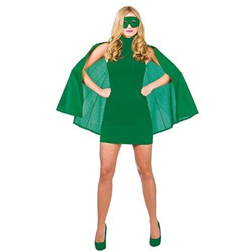 Adult Ladies Short Superhero Super Hero Cape and Eye Mask Halloween Fancy Dress Costume (Green) by Fancy Pants Party (Fancy Dress Superheroes)