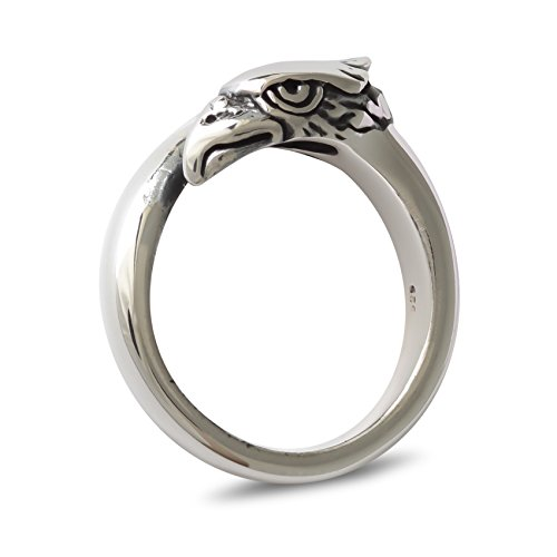 Aden's Jewels Men's Ring Silver 7.7 Gr Biker Motorcycle Silver Header Eagle Single 56 Cobra Mini Cycles